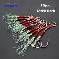 10pcslot slow jigging fishing cast jigs assist hook barbed single jig hooks thread feather pesca high carbon steel fishing lure