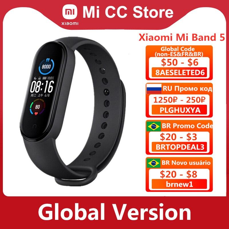 النسخة العالمية Xiaomi مي باند 5 سوار القلب معدل اللياقة البدنية تعقب معصمه 4 اللون حزام 1.1 بوصة AMOLED شاشة Miband 5