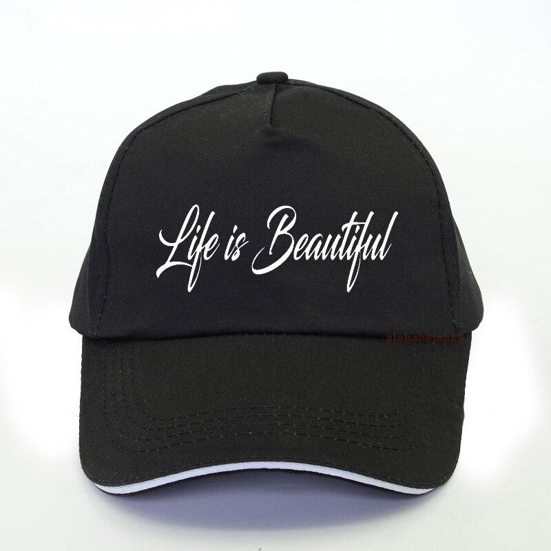 Жизнь с надписью Beautiful принт женские бейсболки, бейсболки кепки 2020 Летняя мужская обувь для отдыха на открытом воздухе, Кепка с козырьком ре...