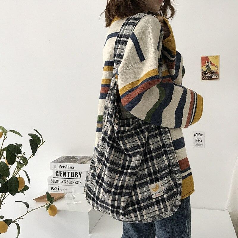 Preto xadrez mulheres simples bolsa de ombro pano macio tecido bolsa grande capacidade tote lixada lona sacos para meninas jovens bonitas