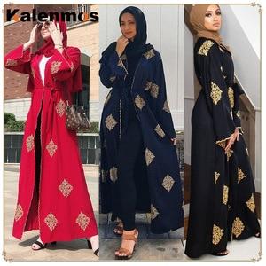 KALENMOS Open Abaya Muslim Hijab Dress Women Dubai Arab Lace-up Kaftan Long Robe Caftan Musulman Marocain Abayas Islamic Clothes