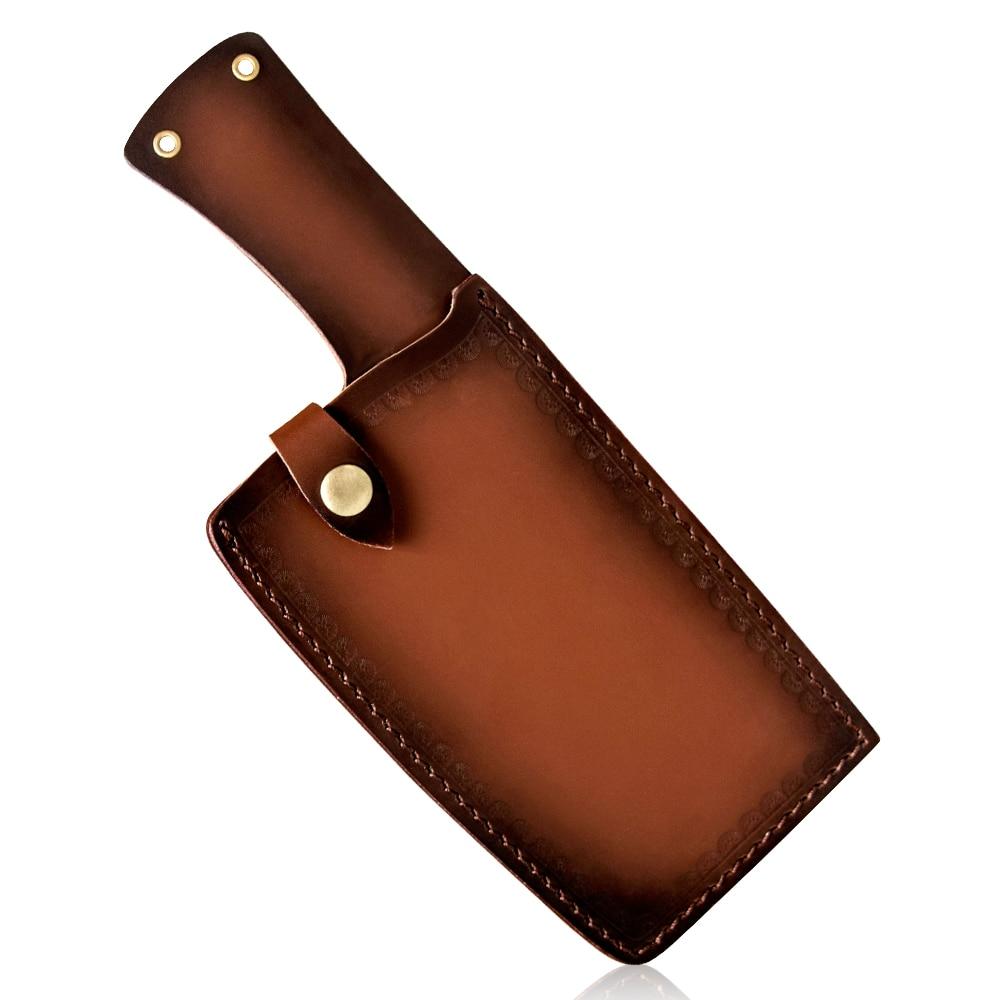 Acampamento cutelo borda da faca guardas caso capas de couro bainha em forjada facas de açougueiro faca chef amarrado para cinto ao ar livre ferramenta