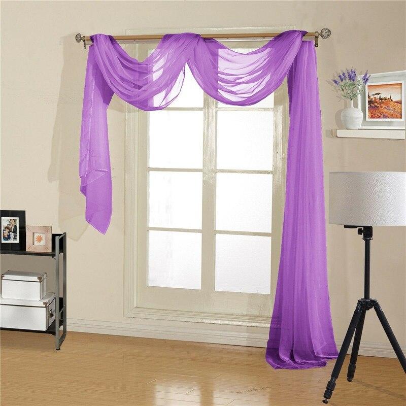 5.5m retro sheers cortina tule porta janela cortina painel cachecol valances moderno quarto sala de estar cortinas 12 cores