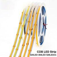 KeWL COB LED Strip 320 LEDs High Density Flexible COB LED Lights DC12V 24V RA90 3000K 4000K 6000K LED Tape 5m/lot.