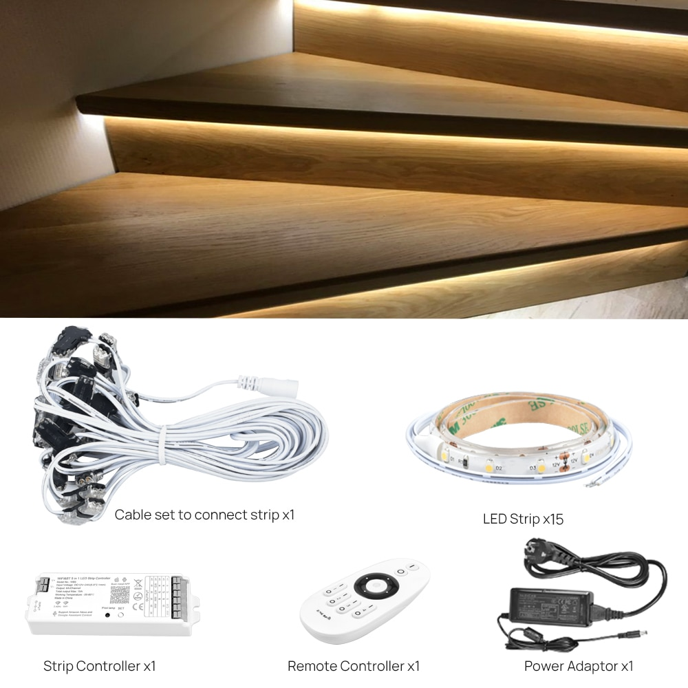 15 Steps Warm White 0.5M Staircase LED Lighting with Tuya App WIFI LED Dimmer-Plug and Play enlarge