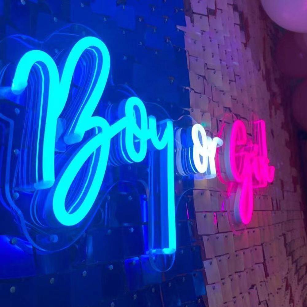 فتاة بوي الجنس تكشف الطفل زينة الحمام لوازم الحفلات النيون تسجيل موضوع جارلاند عدة الحسنات الاطفال عيد ميلاد ديكور رسالة لامعة
