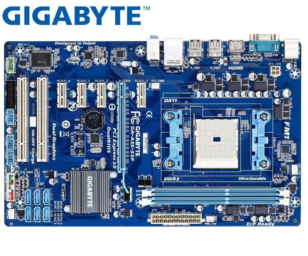 جيجابايت GA-A55-S3P اللوحة الأم الأصلي المقبس FM1 DDR3 A55-S3P USB2.0 32 جيجابايت SATA II A55 سطح المكتب اللوحة