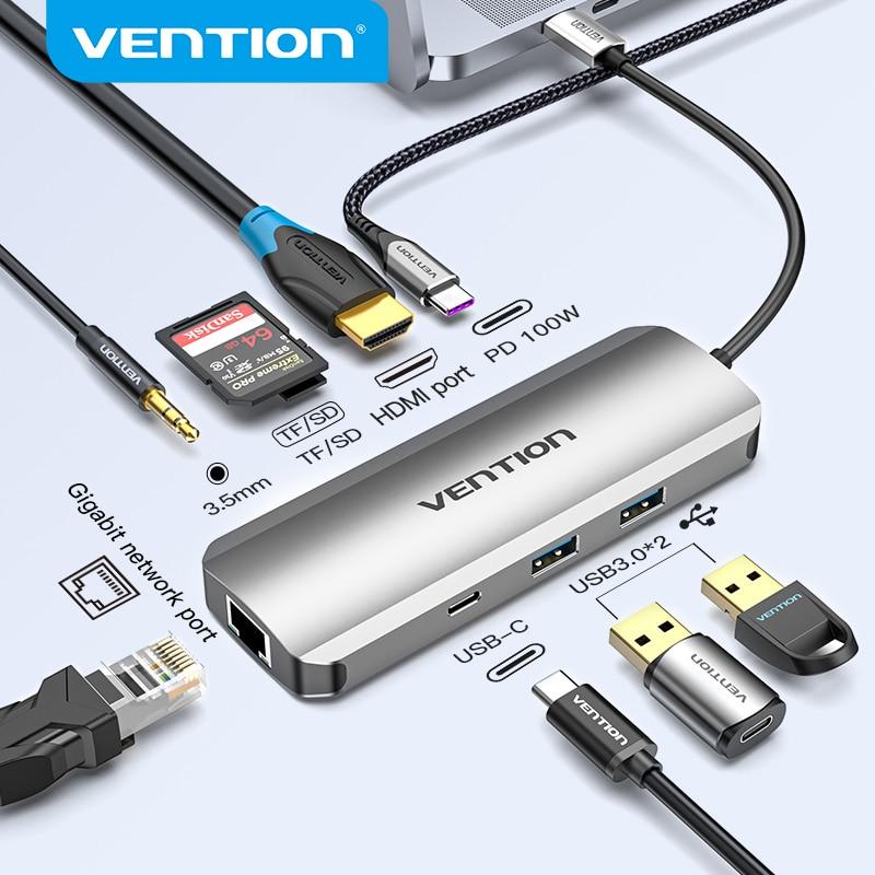 Vention USB C Hub USB C to HDMI 4K VGA PD RJ45 3.5mm USB 3.0 Dock for MacBook Pro Accessories USB-C Type C 3.1 Splitter USB HUB