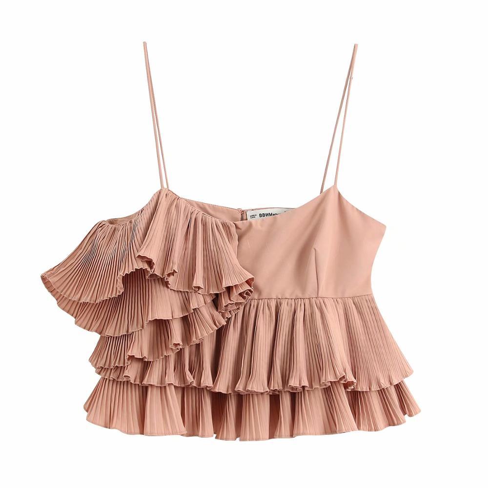 Blusa Sexy plisada con volantes y tirantes finos para mujer, blusa femenina elegante de doble capa de Color sólido, camisetas de marca