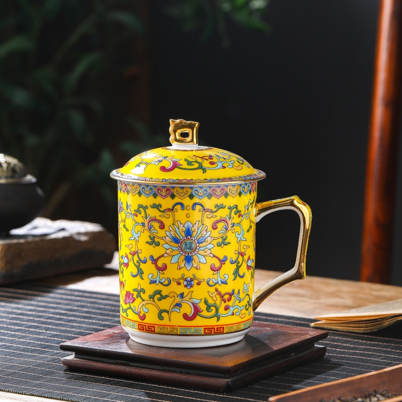 Jingdezhen الصينية السيراميك فنجان شاي المنزلية مع غطاء العظام الصين كوب ماء المينا اللون كأس مكتب كأس مؤتمر كأس
