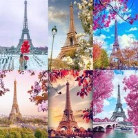 Nouveau Carre Rond Diamant Peinture Tour Eiffel 5D BRICOLAGE Mosaique Ensemble Complet Broderie Paysage Strass Photos Decor A La Maison