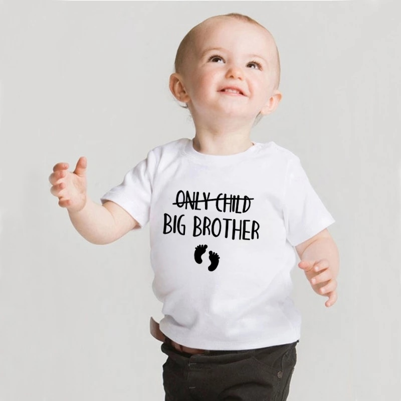 Only Child Big Brother Sister To Be Pregnancy Announcement Tshirt Kids Short Sleeve T-shirt Children