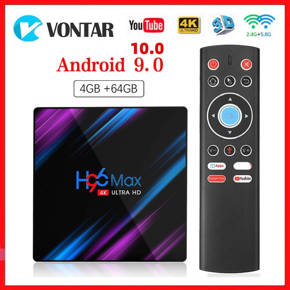 Vontar-صندوق التلفزيون الذكي H96 MAX ، Android 10.0 ، 4 جيجا بايت رام ، 64 جيجا بايت روم ، TVBOX ، 5G ، WiFi ، 4K ، مشغل وسائط ، Android 10 9.0 ، Youtube