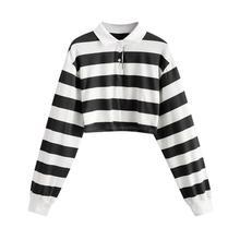 40 # contraste rayé arc-en-ciel demi-bouton sweat-Shirt court chemise à manches longues femmes chemises automne pulls haut femme