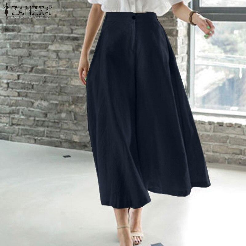Oversized Elegant Pants Capris For Women 2021 Ladies Solid Bottoms ZANZEA Autumn Elastic Waist Trous