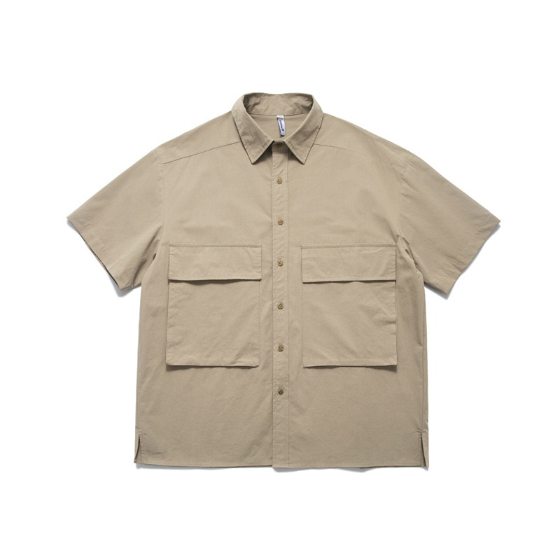 Shirts For Men Summer Loose Cotton Casual Shirt Short-Sleeved Solid Color Big Pocket Cargo Shirt T-Shirt Men Tops