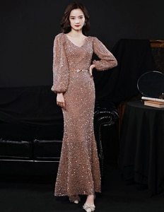 Mermaid Evening Dress Long Sleeves Sexy V-Neck Ankle-Length Elegant Sequins Shiny Wedding Bridal Evening Gown Party Dress Long