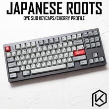 Kprepublic 139 raíz japonesa Japón negro lenguaje de fuente cereza perfil tinte Sub Keycap PBT para gh60 xd60 xd84 cospad tada68 87 104