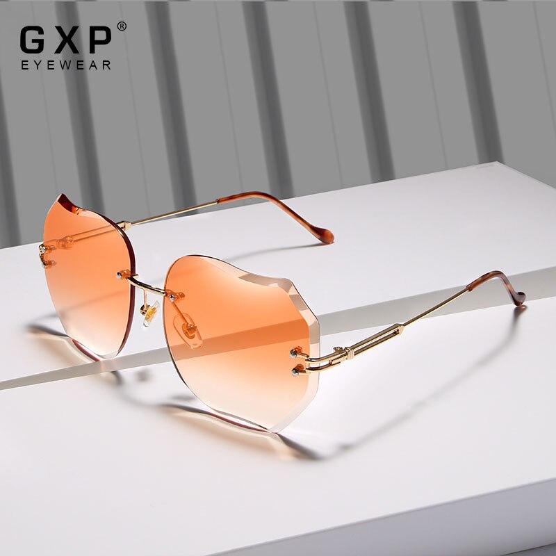 GXP BRAND DESIGN 2020 New Fashion Sunglasses UV protection Rimless Sun Glasses For Women Pink Gradie