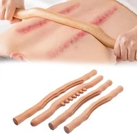 4units wood gua sha stick meridian dredge body massage spine care back scraping tool relief fatigue shaping knead tendon stick