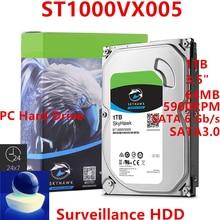 "Yeni HDD Seagate markası Skyhawk 1TB 3.5 ""SATA 6 gb/sn 64MB 5900RPM dahili sabit Disk gözetim HDD ST1000VX005"