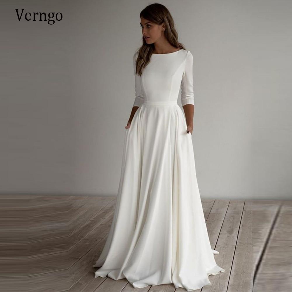 Verngo بسيط فستان الزفاف طويلة الأكمام خط كريب قارب الرقبة أنيقة الزفاف فساتين مع جيوب زائد حجم رداء دي mariee
