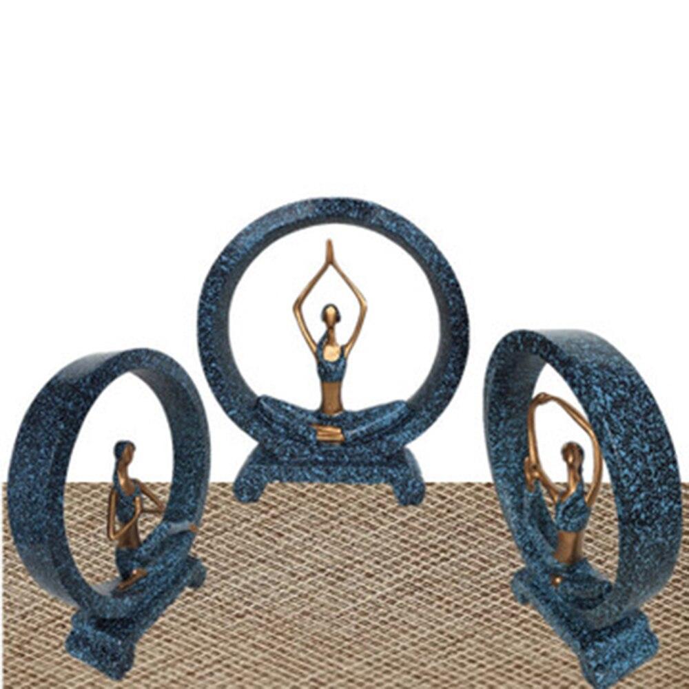 Accesorios de resina para decoración del hogar para niñas artesanías de resina de estilo europeo marrón/azul para mujeres ornamentos de Yoga arte decoración del hogar de la sala de estar