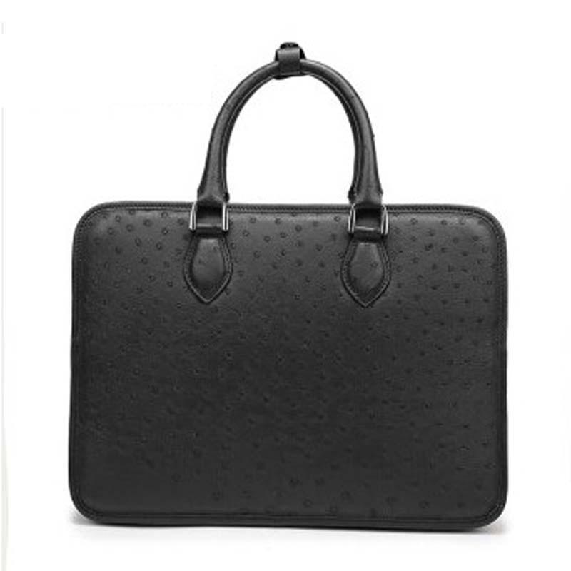 weitasi ostrich leather men's handbag  cross bag men business casual bag hand bags men bags black