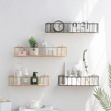 Nordic Iron art Wall Hanging Basket with wood board Decorative Home storage basket Magazine Makeup Storage basket organizer