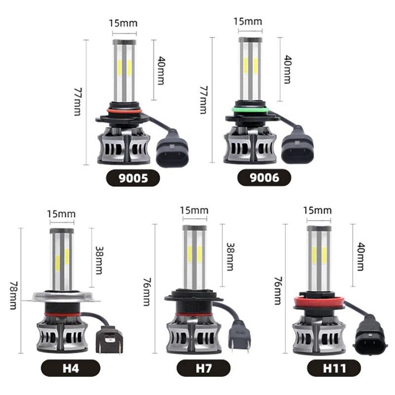 Купить с кэшбэком Car Headlight Bulbs 2pcs /lot 9005 / 9006/ H4/ H7 / H11 6-Sides 72W 8000LM 6000K Fog Light Car LED Headlight Kit IP67 Waterproof