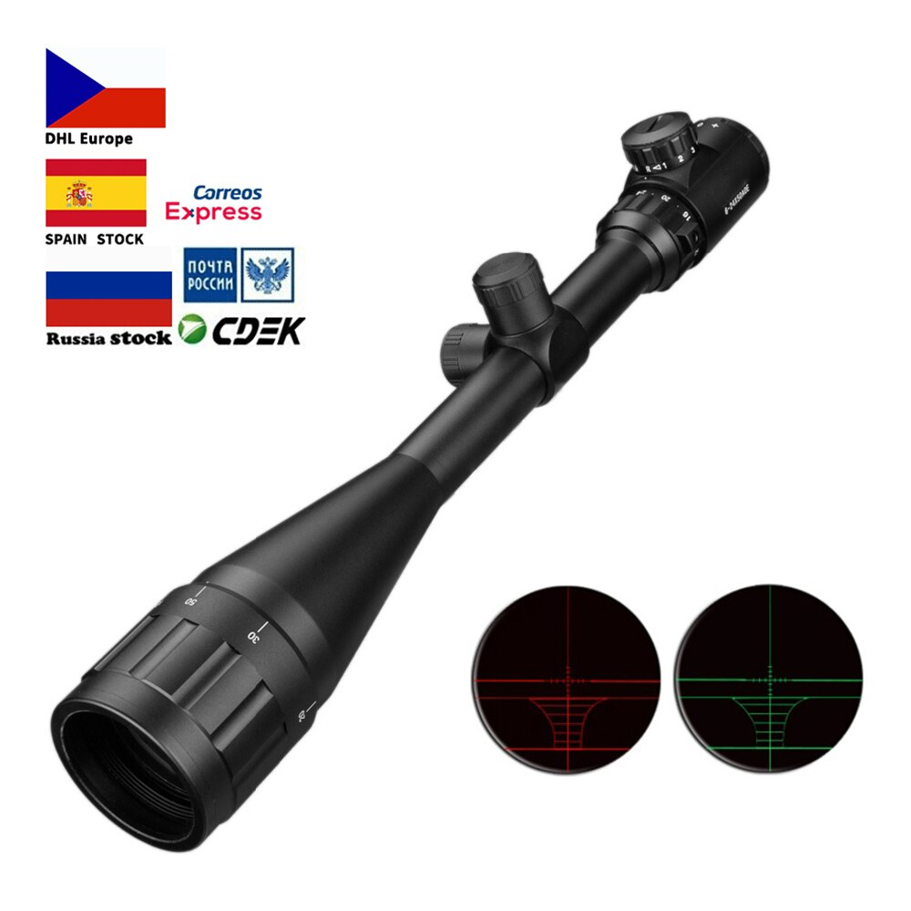 6-24x50 Aoe riflescopio ajustable verde rojo punto caza luz táctica alcance retícula Rifle óptico alcance