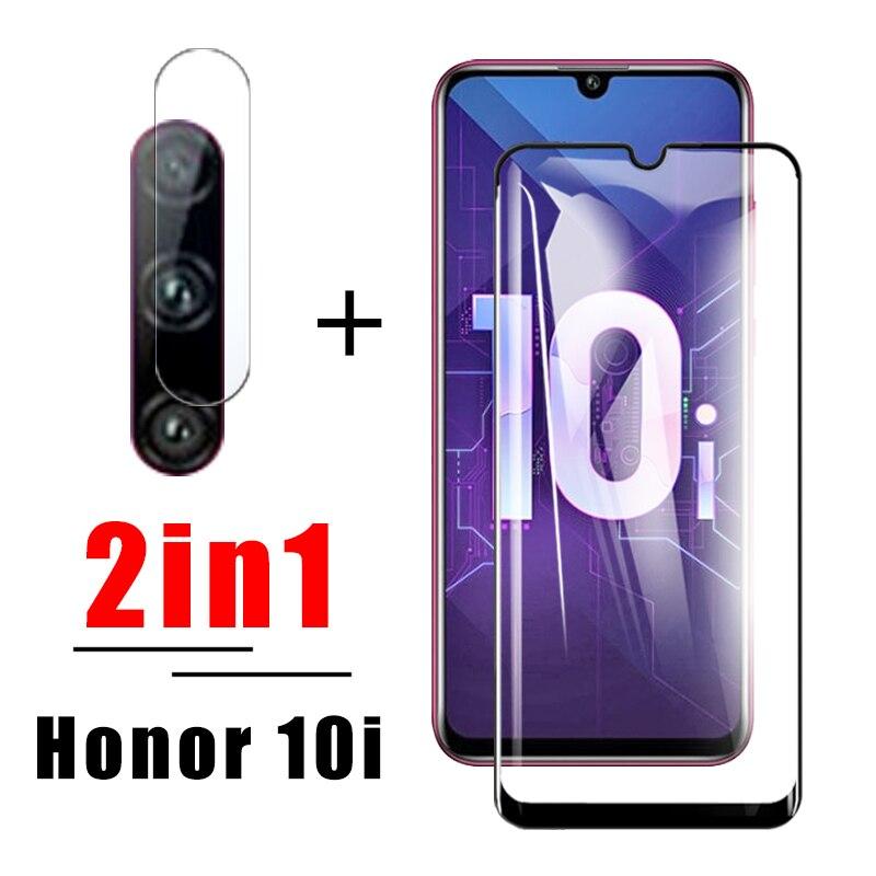 Vidrio protector 2in1 para huawei honor 10i cam protector de pantalla huavei hono homor huawei 10 honor 10 10 i con cristal de lente de cámara