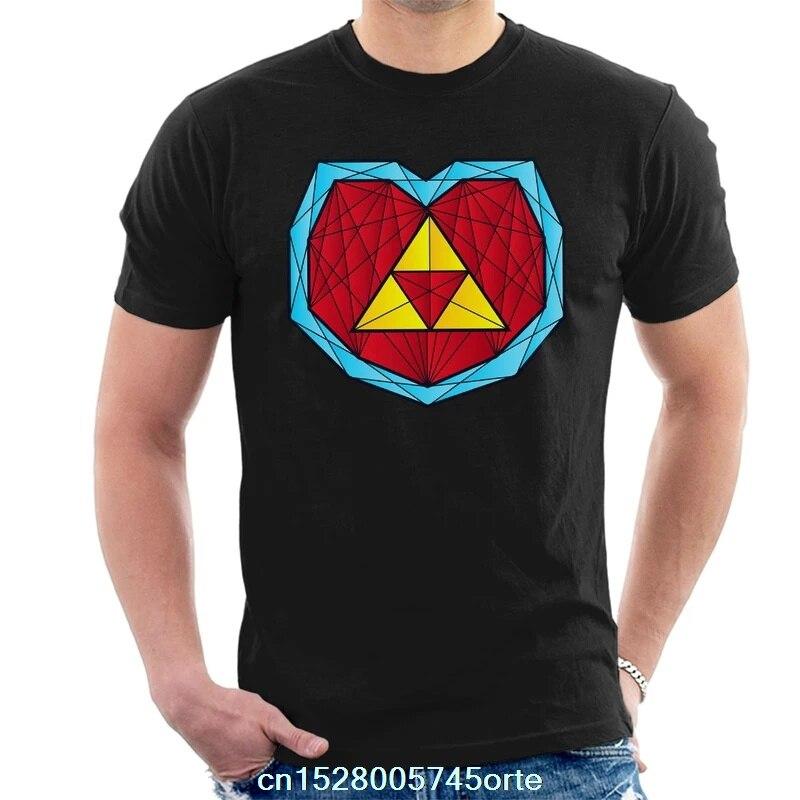 Camiseta estampada divertida 2020 Zelda Hyrule corazón contenedor poligonal Stainglass para hombre camiseta 100% de algodón para mujer