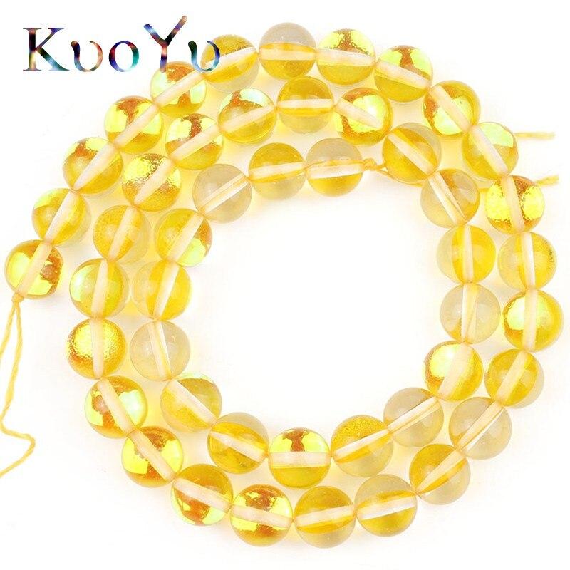 Amarelo Cristal Austríaco Brilho MoonStone Suave Rodada Soltos Spacer Beads Para Fazer Jóias Diy Needlework Pulseiras 6 8 10 MM