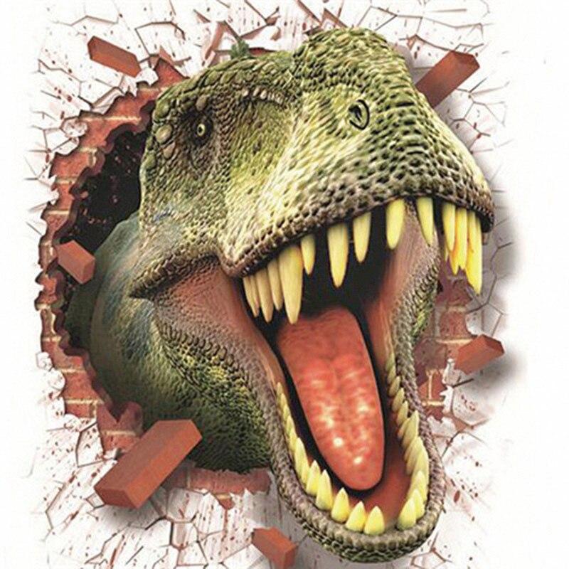 Pegatina de pared 3d de dinosaurio, pegatina decorativa removible para el hogar, Pegatinas 3D de habitación de niños, Pegatinas de dinosaurio, 50x70cm