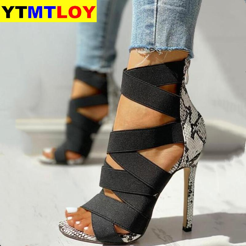 Snake Summer Shoes Woman Pumps High Thin Heels Pointed Toe Rhinestone Gladiator Pumps Party Sexy Sho