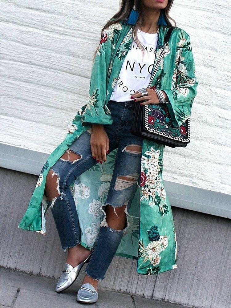 EUA BANCO de Nova Mulheres Floral Solto Cardigan Kimono Boho Chiffon Blusa Jaqueta Casaco