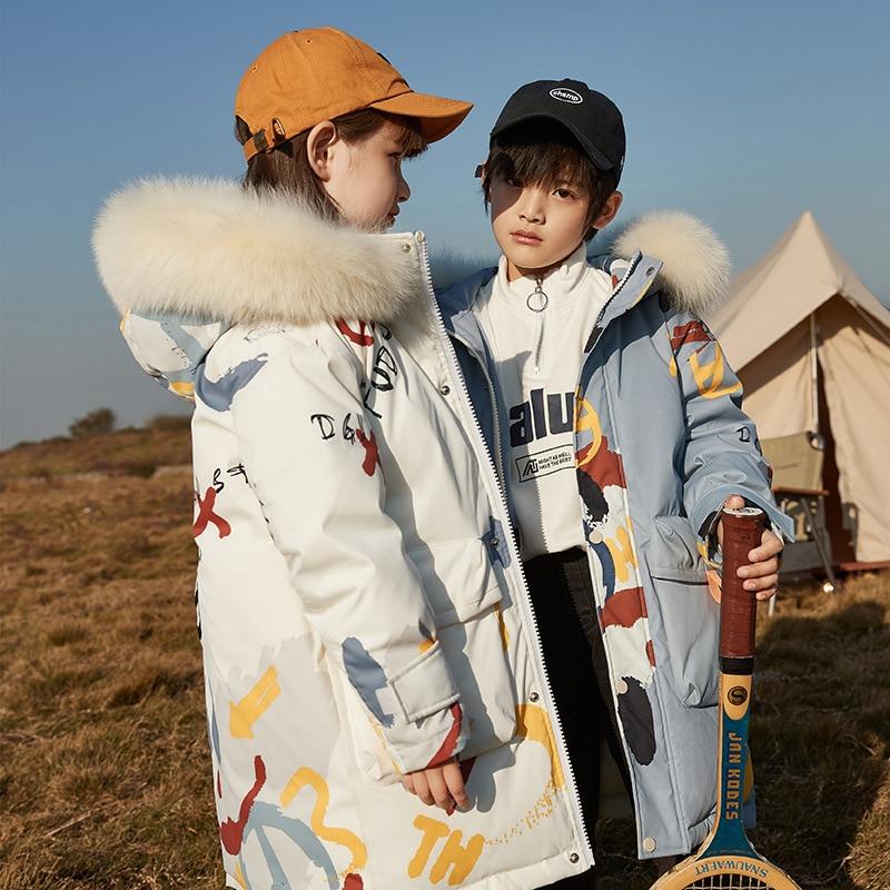 -30 Degree Russian Winter Boy Jacket For Girls Hooded Warm Children Girls Coat 5-14 Years Kids Teenage Down Parkas Outerwear enlarge
