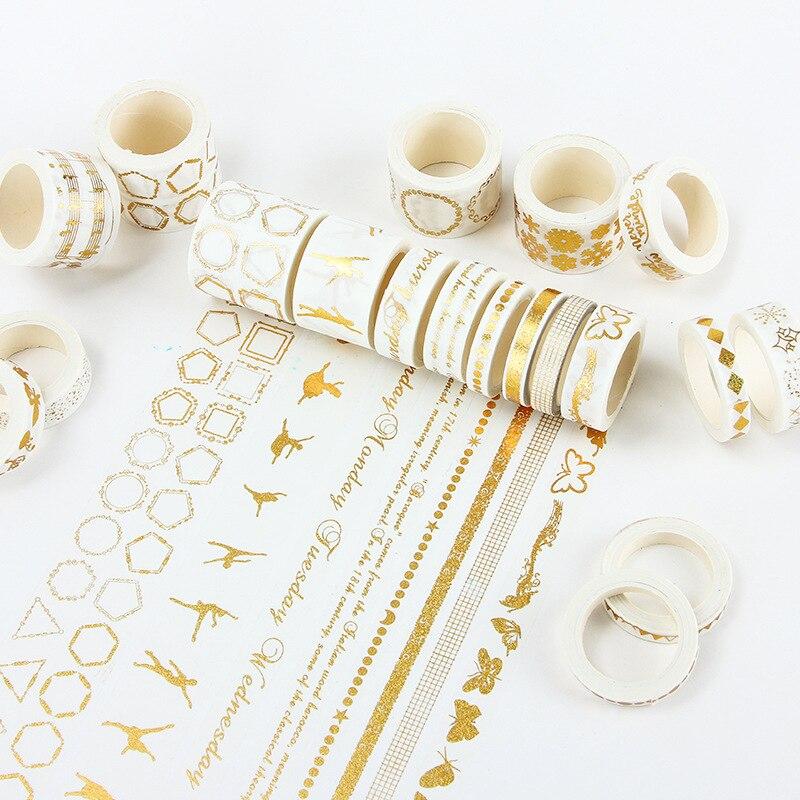 8/15/30mm * 5m cinta de papel de hoja de oro de alta calidad punto, cuadrícula, copo de nieve, alfabeto, diario bala cinta decorativa Washi etiqueta planificador