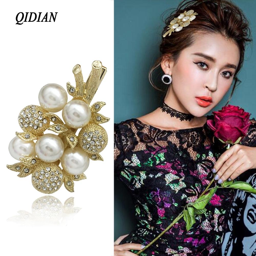 QIDIAN Damen Wunderschöne Mode Design Blatt-Perle Strass Goldene Haar Clip Headwear Boutique Haar Zubehör für Frauen