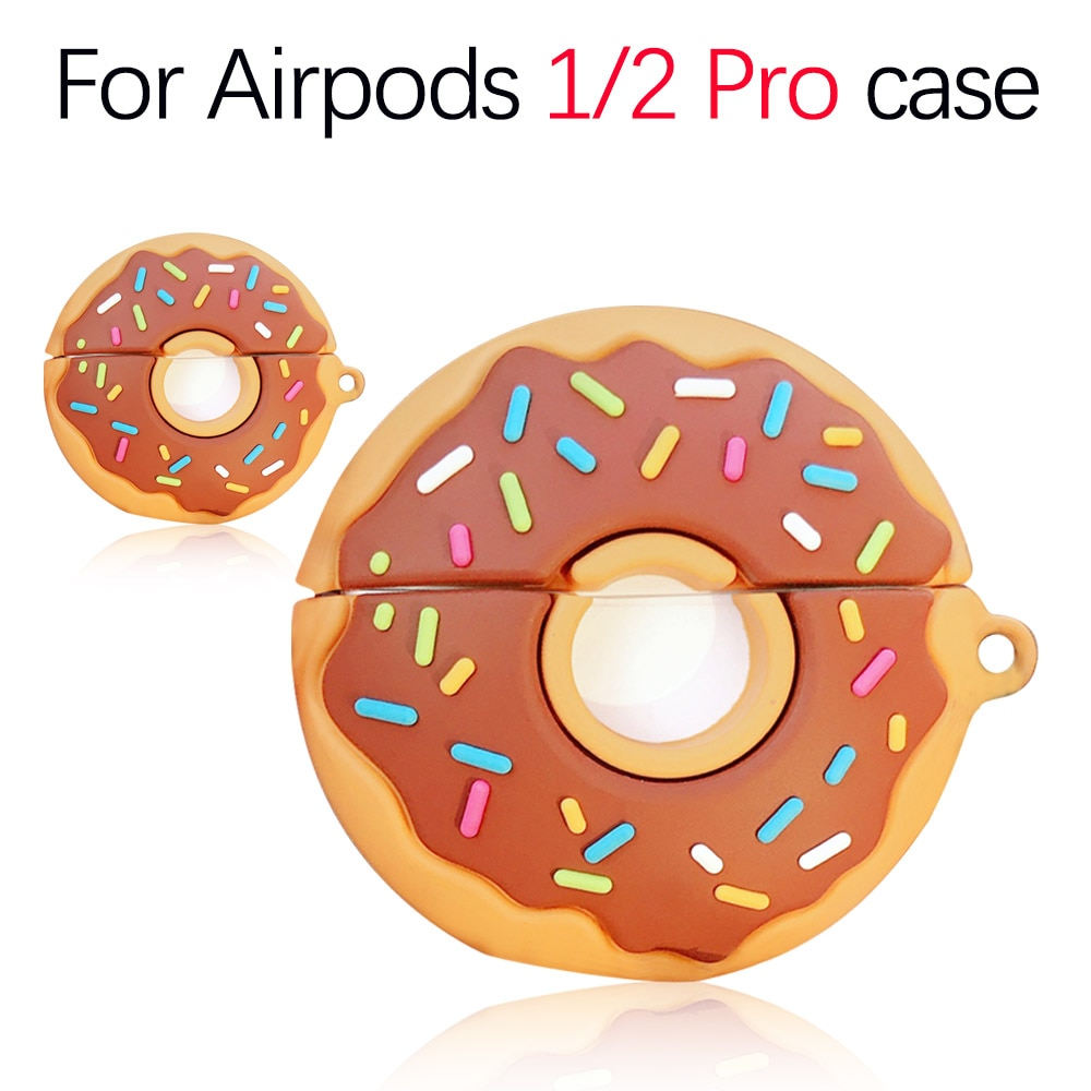 3D Cartoon Us Food Donuts auriculares de silicona suave caso para Airpods 1/2 auriculares inalámbricos cubierta para Apple Airpods Pro