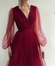 2020 Women's Summer Mesh Lantern Sleeve V-neck Layer Dresses Elegant Party Formal Dress Mujer Vestido
