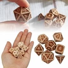7 Pcs Set Reliëf Houten Polyhedrale Dobbelstenen D20 D12 D10 D8 D6 D4 Voor Dnd Rpg Mtg Rollenspel Board game