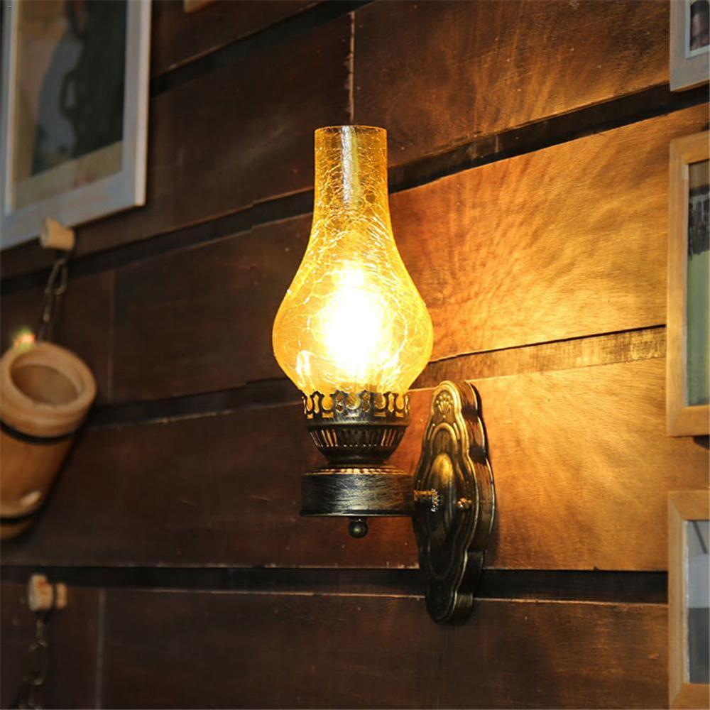Artpad-مصباح جداري زجاجي معدني عتيق على الطراز الصيني ، مصباح زيت E27 مع عاكس الضوء ، زخرفة الكراك ، للبار ، الدور العلوي ، الممر ، غرفة النوم