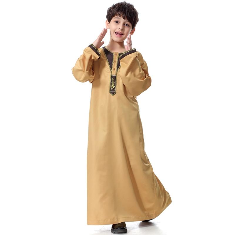 Boy Muslim Robe Saudi Arabia Pocket Long Sleeve Embroidered Long Skirt Islamic Ethnic Youth Men's Robe Ramadan Mosque Long Skirt