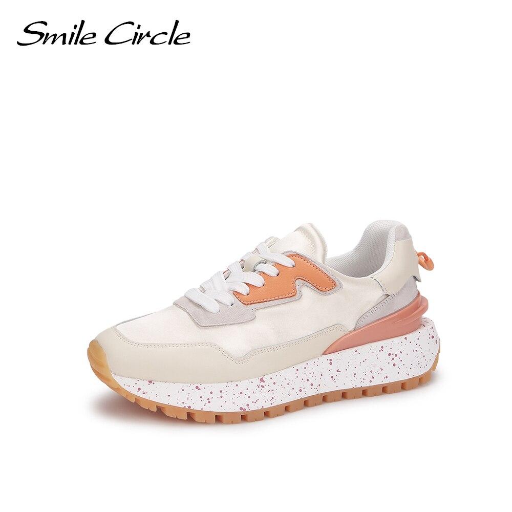 Smile-حذاء رياضي نسائي دائري ، حذاء نسائي بنعل سميك ، مريح ، بمقدمة دائرية