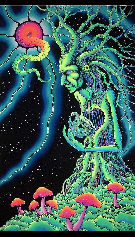 Tapisserie décorative style psychedelique UV   Tapisserie murale fantaisie suspendue, esprit darbre, UV