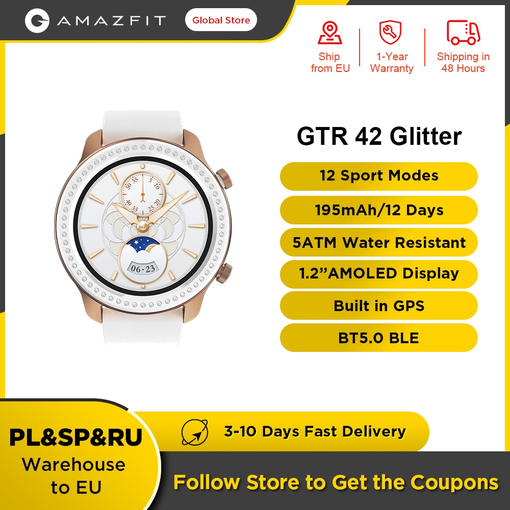 Promo Original Amazfit GTR 42mm Glitter Edition Smart Watch 5ATM Women's Watch12 Days Battery Music Control For Android IOS Phone