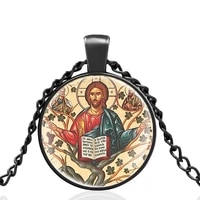 vintage orthodox design glass cabochon men women high quality pendant necklace jewelry accessories gifts