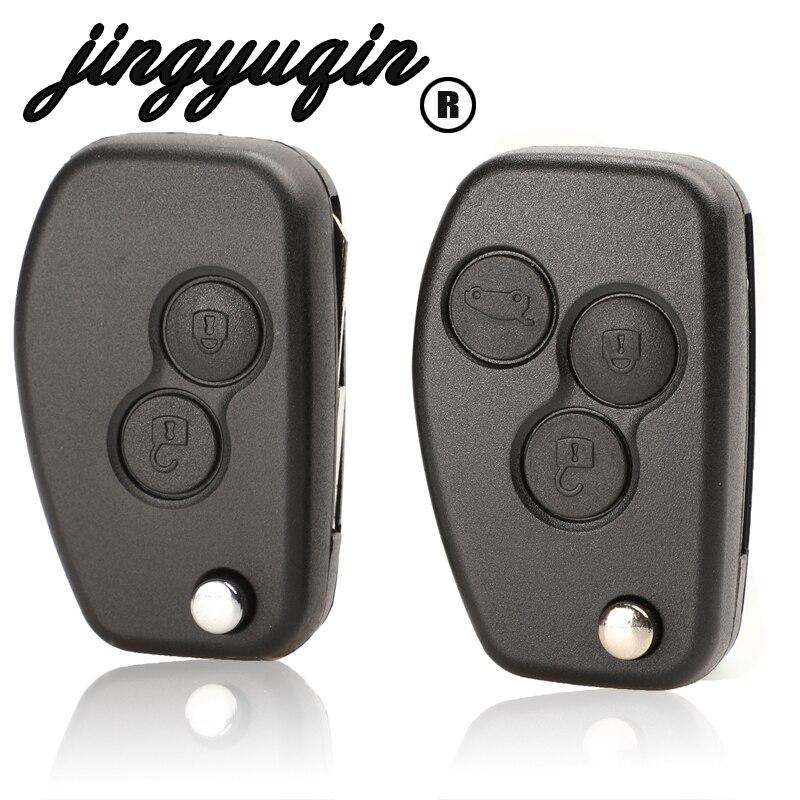 Jingyuqin VAC102 para Renault Megane Dacia Modus Espace Duster Clio 2 botones Flip plegable remoto coche modificado llave Fob caso